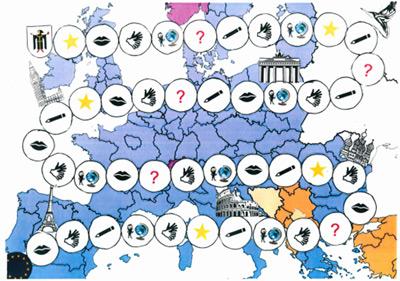 Bild eines im Unterricht angefertigten Spiel: Reise durch Europa